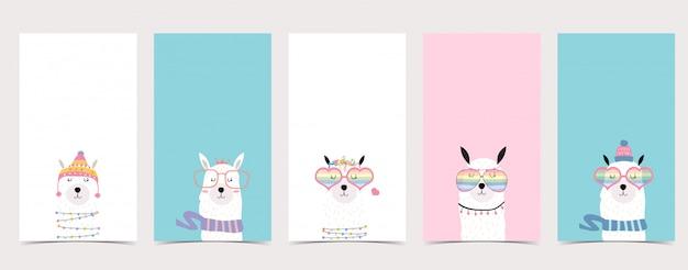 Lindo fondo pastel para redes sociales conjunto de historia de instagram con llama, alpaca