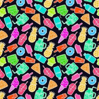 Lindo fondo transparente de comida brillante doodle. ilustración dibujada a mano