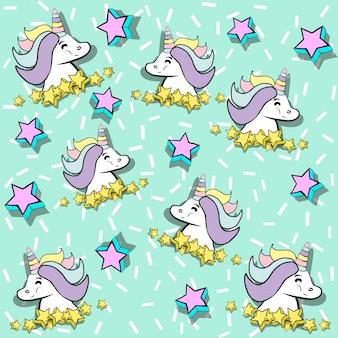 Lindo fondo de unicornio, ilustración en formato vectorial