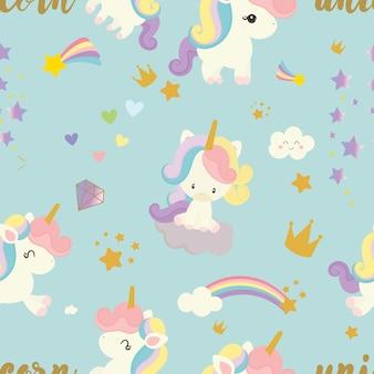 Lindo fondo unicornio de patrones sin fisuras