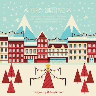 Lindo fondo vintage de ciudad navideña