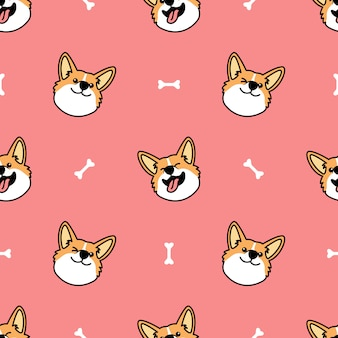 Lindo gallo corgi perro cara de dibujos animados de patrones sin fisuras
