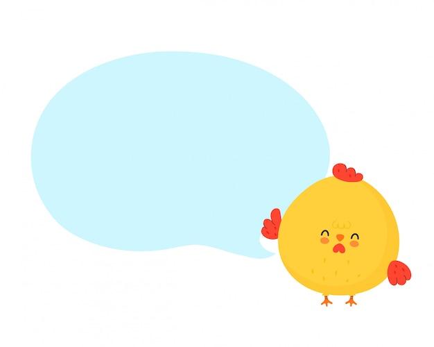 Lindo gallo divertido pollo con bocadillo. diseño de ilustración de personaje de dibujos animados de vector. aislado