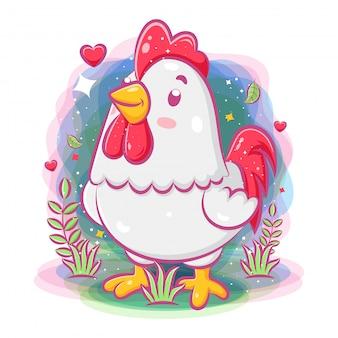 Lindo gallo jugar alrededor del jardín