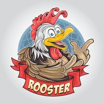 Lindo gallo sonriente o pollo con cara divertida, ilustraciones