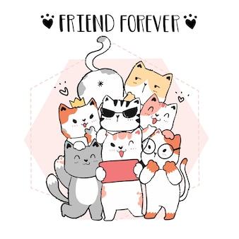 Lindo garabato gato amigo pandilla tomar selfie, amigo para siempre, ilustración dibujada a mano