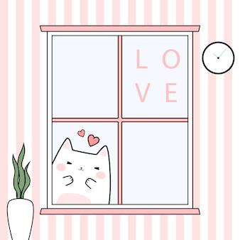 Lindo gatito adorable gato detrás de windows cartoon doodle