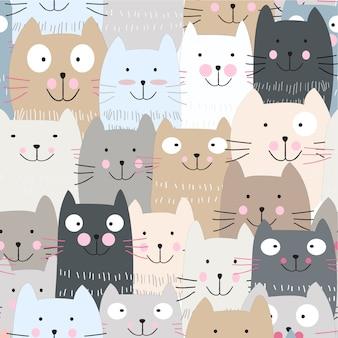 Lindo gatito azul gatito gato de patrones sin fisuras