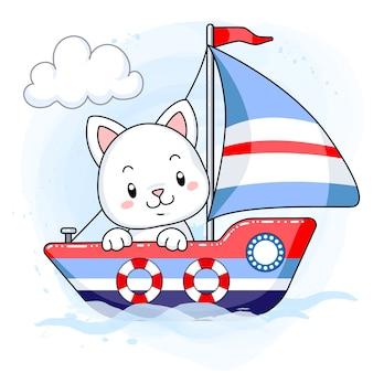 Lindo gatito blanco navegando en un barco de dibujos animados