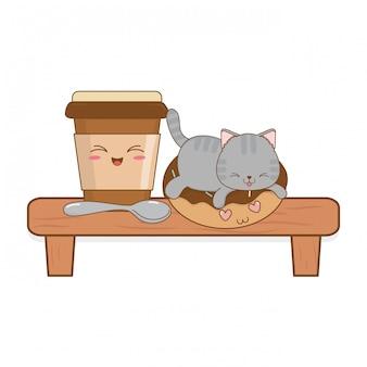 Lindo gatito con café bebida kawaii carácter
