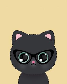 Lindo gatito en cartel de gafas. vector.