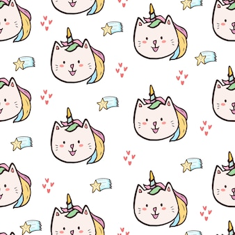 Lindo gatito caticorn de patrones sin fisuras