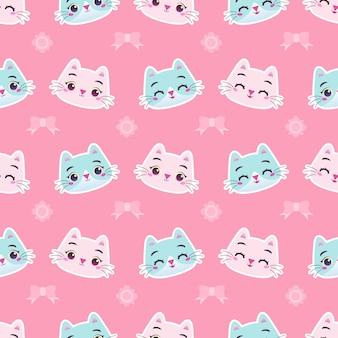 Lindo gatito colorido gato con cinta y flor ilustración de patrones sin fisuras