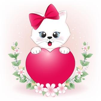Lindo gatito y corazón con marco de flores