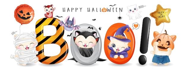 Lindo gatito para el día de halloween con ilustración acuarela