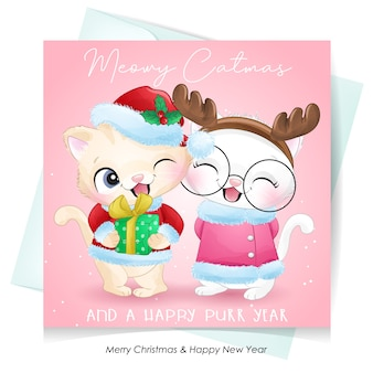 Lindo gatito doodle para el día de navidad con ilustración acuarela