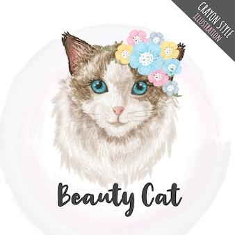 Lindo gatito flores crayón estilo ilustración