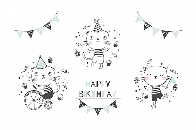 Lindo gatito gato colección de personajes de bebé. conjunto de iconos de feliz cumpleaños. dibujado a mano dibujos animados animales diseño ilustración.
