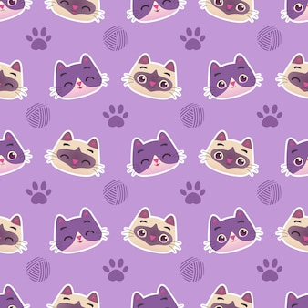 Lindo gatito gato colorido con patrones sin fisuras de bola de pata e hilo