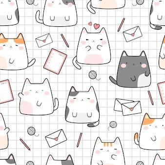 Lindo gatito gato en cuadrícula dibujos animados doodle de patrones sin fisuras