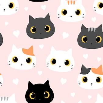 Lindo gatito gato con dibujos animados de corazón doodle de patrones sin fisuras