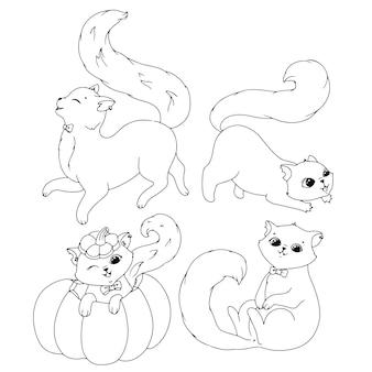 Lindo gatito con un lazo. libro de colorear de dibujo simple con un gato para halloween. ilustración de vector aislado sobre fondo blanco.
