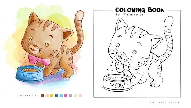 Lindo gatito marrón come su comida, ilustración de dibujos animados para colorear acuarela