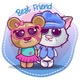 Lindo gatito y oso de dibujos animados