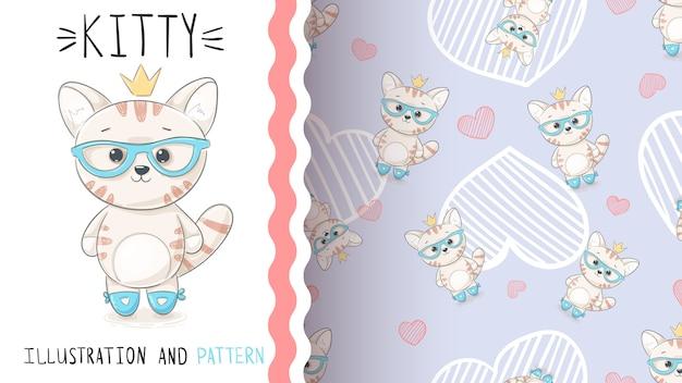 Lindo gatito princesa - patrón transparente