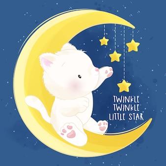 Lindo gatito sentado en la luna