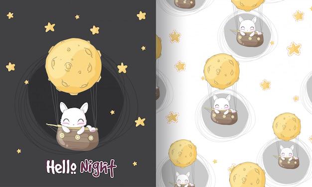 Lindo gatito soñando ilustración de patrones sin fisuras para niños