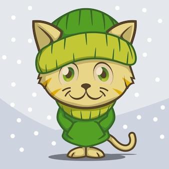 Lindo gatito con un traje de chaqueta de invierno verde
