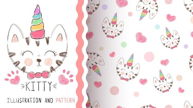 Lindo gatito, unicornio - patrón transparente