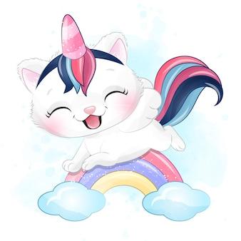 Lindo gatito volando en el arco iris con ilustración acuarela