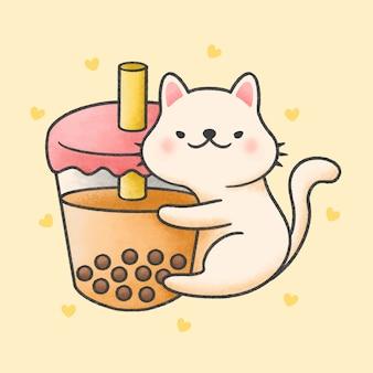 Lindo gato abrazo burbuja leche té bebida fresca dibujos animados estilo dibujado a mano