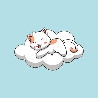 Lindo gato acostado en la ilustración de dibujos animados de nube