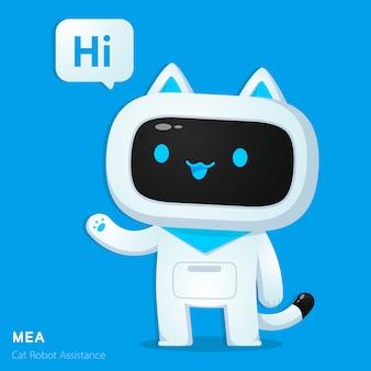 Lindo gato ai personaje de asistencia robot en acción de saludo