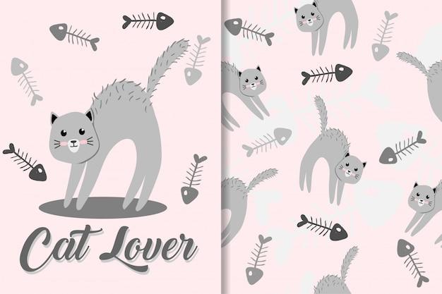 Lindo gato animal dibujado a mano bebé patrón conjunto