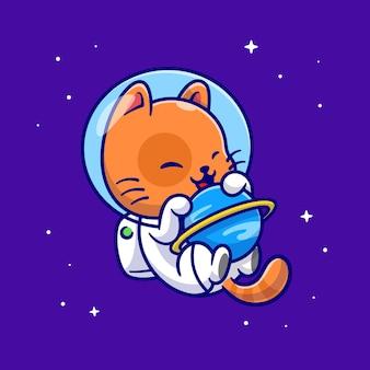 Lindo gato astronauta abrazo planeta en el espacio ilustración de dibujos animados