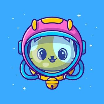 Lindo gato astronauta con ilustración de dibujos animados de casco. estilo de dibujos animados plana