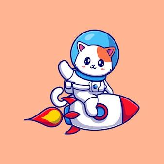 Lindo gato astronauta montando cohete y agitando la mano de dibujos animados vector icono ilustración. concepto de icono de tecnología animal aislado vector premium. estilo de dibujos animados plana