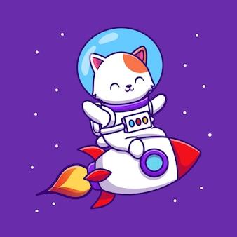 Lindo gato astronauta montando dibujos animados de cohetes