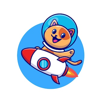 Lindo gato astronauta montando personaje de dibujos animados de cohetes. tecnología animal aislada.