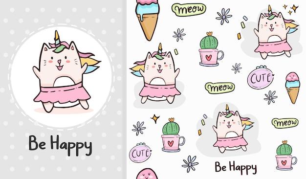 Lindo gato bailando unicornio y cactus de dibujos animados de patrones sin fisuras