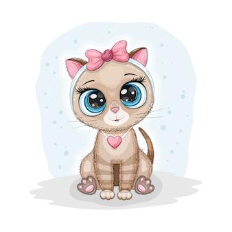 Lindo gato bebé con ojos grandes y lazo rosa, estampado de niño