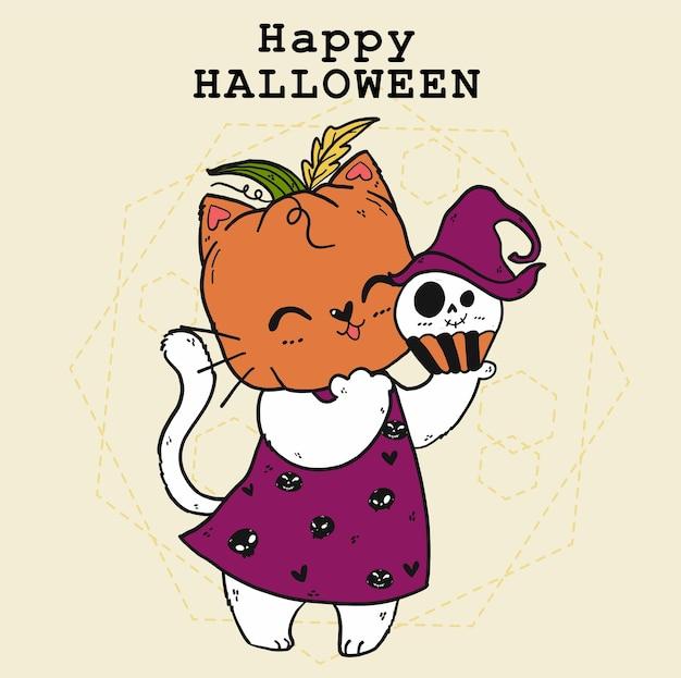 Lindo gato blanco feliz con cabeza de calabaza anhelada, disfraz de halloween