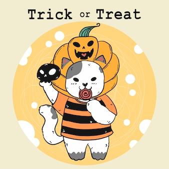 Lindo gato blanco feliz con cabeza de calabaza anhelada, truco o trato, disfraz de halloween, naranja otoñal