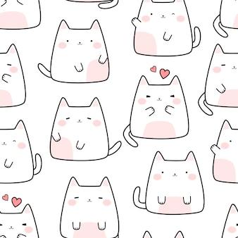 Lindo gato blanco gatito dibujos animados doodle de patrones sin fisuras