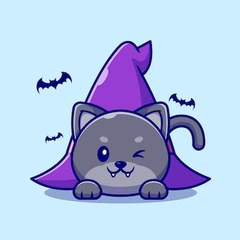 Lindo gato bruja tendido debajo de la ilustración de dibujos animados de sombrero de bruja.