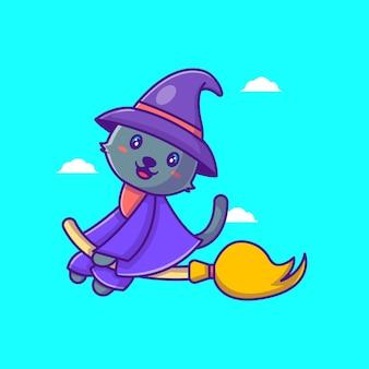 Lindo gato bruja volando con escoba ilustraciones de dibujos animados feliz halloween